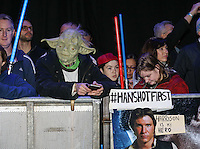 Fans of the Star Wars Movies celebrate its comeback during the STAR WARS: 'The Force Awakens' EUROPEAN PREMIERE at Odeon, Empire & Vue Cinemas, Leicester Square, England on 16 December 2015. Photo by David Horn / PRiME Media Images