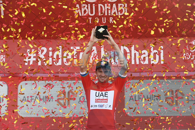 European Champion Alexander Kristoff (NOR) UAE Team Emirates wins Stage 1 and the race leaders jersey of the 2018 Abu Dhabi Tour, Al Fahim Stage running 189km from Madinat Zayed to Adnoc School, Abu Dhabi, United Arab Emirates. 21st February 2018.<br /> Picture: LaPresse/Fabio Ferrari   Cyclefile<br /> <br /> <br /> All photos usage must carry mandatory copyright credit (© Cyclefile   LaPresse/Fabio Ferrari)