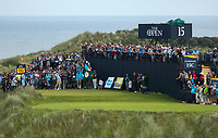 150719 | The 148th Open - Monday Practice<br /> <br /> Dustin Johnson of USA tees off on the 16th during practice for the 148th Open Championship at Royal Portrush Golf Club, County Antrim, Northern Ireland. Photo by John Dickson - DICKSONDIGITAL