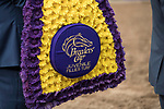 DEL MAR, CA - NOVEMBER 03: The flower blanket that was awarded to Rushing Fall #11, ridden by Javier Castellano, after the win on Day 1 of the 2017 Breeders' Cup World Championships at Del Mar Thoroughbred Club on November 3, 2017 in Del Mar, California. (Photo by Alex Evers/Eclipse Sportswire/Breeders Cup)