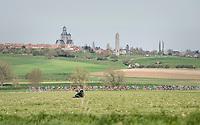 peloton racing over the newly added gravel roads around Ploegsteert, called 'Plugstreets'<br /> <br /> 79th Gent-Wevelgem 2017 (1.UWT)<br /> 1day race: Deinze › Wevelgem - BEL (249km)