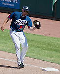 Reno Aces Mark Teahen makes the play at first against the Fresno Grizzlies during their game played on Sunday afternoon, April 28, 2013 in Reno, Nevada.