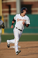 Corey Dempster (15) of the Southern California Trojans runs the bases during a game against the Oakland Grizzlies at Dedeaux Field on February 21, 2015 in Los Angeles, California. Southern California defeated Oakland, 11-1. (Larry Goren/Four Seam Images)