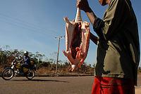 Leonardo Lima da Silva, 17 anos tenta vender um tatu caçado por ele e seu irmão caçula durante a madrugada. Apesar de proibição do comércio de animais silvestres  pelo Ibama, esta é uma das formas de ajudar sua família, pai, mãe e quatro irmão dependentes da agricultura familiar a beira da Pa 150 próximo a Serra Pelada.<br /> Marabá, Pará, Brasil.<br /> Foto Paulo Santos/Interfoto<br /> 18/08/2009.
