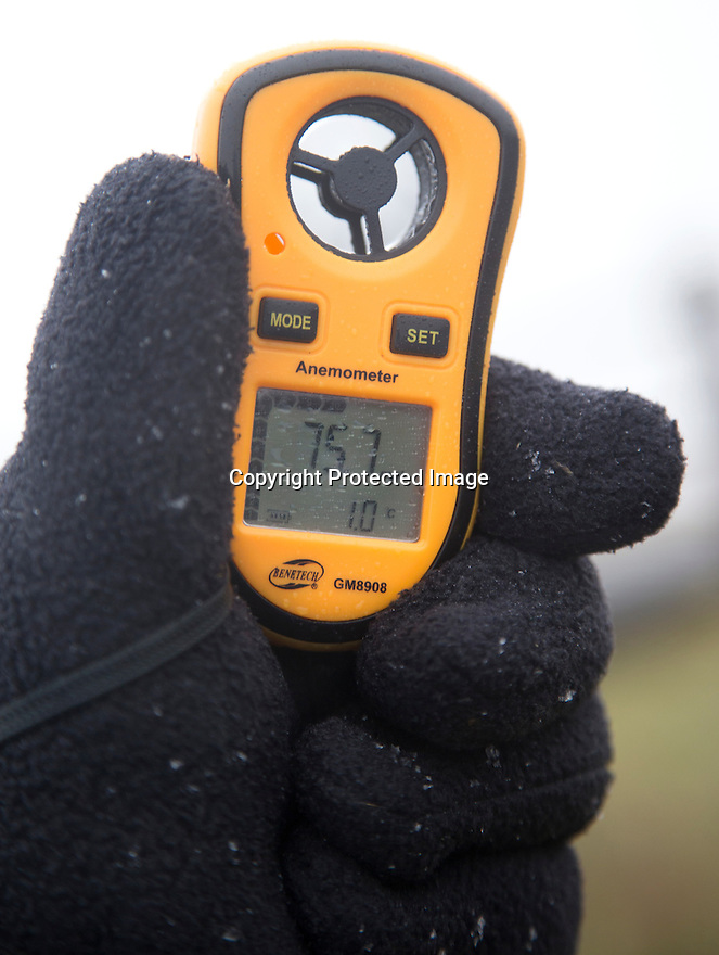 23/02/17<br /> <br /> As temperatures drop to only one degree and snow begins to fall a walker measures a wind speed of 75.7 mph on his hand-held anemometer on the Staffordshire Moorlands near Leek in the Peak District. <br /> <br /> All Rights Reserved F Stop Press Ltd. (0)1773 550665 www.fstoppress.com