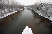 Snow covered rivanna river in Charlottesville, Va.