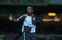 Marcus Bean of Wycombe Wanderers as a team mate is brought down during the Capital One Cup match between Wycombe Wanderers and Fulham at Adams Park, High Wycombe, England on 11 August 2015. Photo by Andy Rowland.