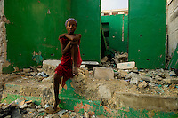 Port au Prince, Haiti, April 17, 2010.Cawal Chal suffers from TB (probably caused by HIV/Aids); since the January earthquake, she barely survives outside, amid the poverty and destruction of downtown Port au Prince.