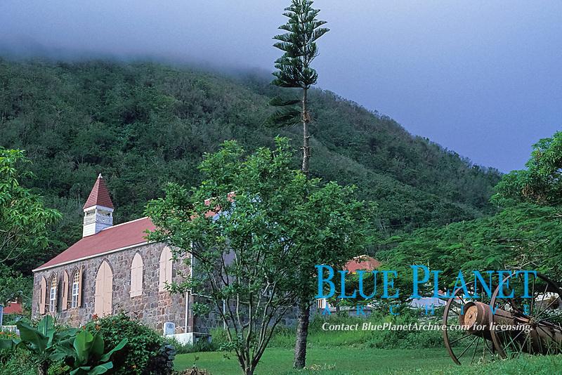 old church and cannon, Windwardside town of Saba Island, Netherlands Antilles, (Eastern Caribbean Sea, Atlantic), Atlantic
