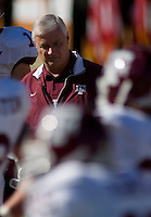 24 November 2006: Texas A&M head coach Dennis Franchione watches his team during warmups before the Aggies 12-7 victory over the University of Texas Longhorns at Darrell K Royal Memorial Field in Austin, TX.