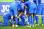 21.02.2021, xmeix, 1.Fussball Bundesliga,      TSG 1899 Hoffenheim - SV Werder Bremen, emspor. v.l.n.r, <br /> Jubel zum 2:0 fuer Hoffenheim durch Christoph Baumgartner (TSG 1899 Hoffenheim) mit der Mannschaft<br /> <br /> (DFL/DFB REGULATIONS PROHIBIT ANY USE OF PHOTOGRAPHS as IMAGE SEQUENCES and/or QUASI-VIDEO)<br /> <br /> Foto © PIX-Sportfotos *** Foto ist honorarpflichtig! *** Auf Anfrage in hoeherer Qualitaet/Aufloesung. Belegexemplar erbeten. Veroeffentlichung ausschliesslich fuer journalistisch-publizistische Zwecke. For editorial use only. DFL regulations prohibit any use of photographs as image sequences and/or quasi-video.