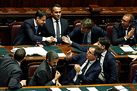 Ministers congratulate Giuseppe Conte after his speech. Luigi Di Maio, Dario Franceschini, Riccardo Fraccaro, Vincenzo Boccia, Roberto Speranza<br /> Rome September 9th 2019. Lower Chamber. Programmatic speech of the new appointed Italian Premier at the Chamber of Deputies to explain the program of the yellow-red executive. After his speech the Chamber is called to the trust vote at the new Government. <br /> Foto  Samantha Zucchi Insidefoto