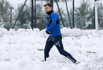 St Johnstone Training…. 15.01.21<br />Callum Hendry pictured having some fun in the snow during training at McDiarmid Park ahead of tomorrows game against St Mirren<br />Picture by Graeme Hart.<br />Copyright Perthshire Picture Agency<br />Tel: 01738 623350  Mobile: 07990 594431