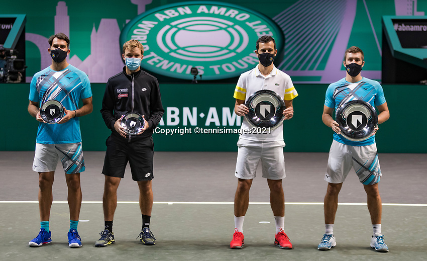 Rotterdam, The Netherlands,7 march  2021, ABNAMRO World Tennis Tournament, Ahoy,  <br /> Doubles final: runners up (L) Kevin Krawietz (GER) / Horia Tecau (ROU) and finalists Nikola Mektic (CRO) / Mate Pavic (CRO) (R).<br /> Photo: www.tennisimages.com/henkkoster