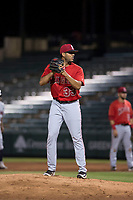 AZL Angels relief pitcher Cristia Reyes (33) prepares to deliver a pitch during an Arizona League game against the AZL Indians 2 at Tempe Diablo Stadium on June 30, 2018 in Tempe, Arizona. The AZL Indians 2 defeated the AZL Angels by a score of 13-8. (Zachary Lucy/Four Seam Images)