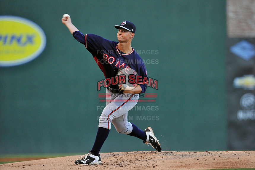 Starting pitcher Mike Soroka (54) of the Rome Braves delivers a pitch in a game against the Greenville Drive on Wednesday, August 31, 2016, at Fluor Field at the West End in Greenville, South Carolina. Rome won, 9-1. (Tom Priddy/Four Seam Images)