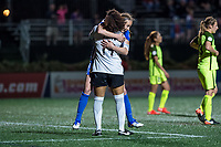 Boston, MA - Saturday April 29, 2017: Abby Smith and Julie King celebrate a win during a regular season National Women's Soccer League (NWSL) match between the Boston Breakers and Seattle Reign FC at Jordan Field.