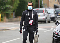 Bryan Mbeumo of Brentford arrives at the ground ahead of kick-off during Brentford vs Charlton Athletic, Sky Bet EFL Championship Football at Griffin Park on 7th July 2020