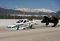 Feb. 27, 2011; Pomona, CA, USA; NHRA funny car driver Mike Neff during the Winternationals at Auto Club Raceway at Pomona. Mandatory Credit: Mark J. Rebilas-.