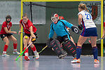GER - Mannheim, Germany, December 15: During the 1. Bundesliga Sued Damen indoor hockey match between Mannheimer HC (white) and TSV Mannheim (red) on December 15, 2018 at Irma-Roechling-Halle in Mannheim, Germany. Final score 2-2. (Photo by Dirk Markgraf / www.265-images.com) *** Local caption ***