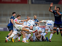 21st August 2020; AJ Bell Stadium, Salford, Lancashire, England; English Premiership Rugby, Sale Sharks versus Exeter Chiefs;  Jack Maunder of Exeter Chiefs box kicks as Lood de Jager of Sale Sharks runs on to pressurise