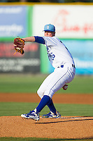 Burlington Royals starting pitcher Scott Blewett (36) in action against the Princeton Rays at Burlington Athletic Park on July 11, 2014 in Burlington, North Carolina.  The Rays defeated the Royals 5-3.  (Brian Westerholt/Four Seam Images)