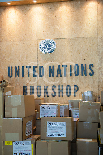 The United Nations bookshop with boxes of books bearing Customs labels during the build-up at the Rio Centre venue. United Nations Conference on Sustainable Development (Rio+20), Rio de Janeiro, Brazil. Photo © Sue Cunningham.