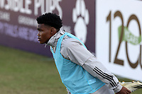 RICHMOND, VA - SEPTEMBER 30: Serge Ngoma #81 of New York Red Bulls II warms up on the endline during a game between North Carolina FC and New York Red Bulls II at City Stadium on September 30, 2020 in Richmond, Virginia.