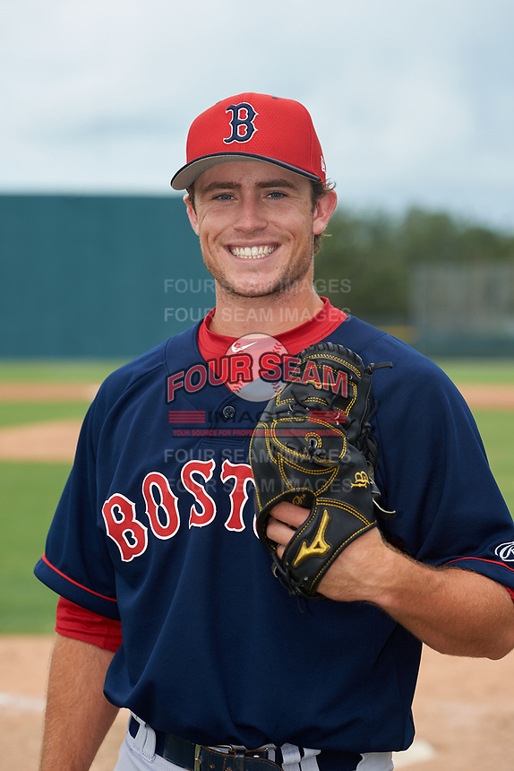 GCL Red Sox pitcher Dylan Spacke (65) poses for a photo after a Gulf Coast League game against the GCL Pirates on August 1, 2019 at Pirate City in Bradenton, Florida.  GCL Red Sox defeated the GCL Pirates 11-3.  (Mike Janes/Four Seam Images)