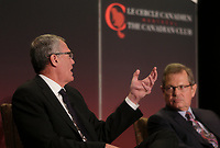 Pierre Gabriel Cote, President and CEO, Investissement Quebec (L).<br /> take part in a debate about Quebec's economy, at the Canadian Club of Montreal, June 1st 2015.<br /> <br /> Photo : Pierre Roussel - Agence Quebec Presse