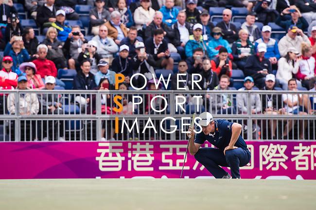 Justin Rose of England lines up a putt during the day three of UBS Hong Kong Open 2017 at the Hong Kong Golf Club on 25 November 2017, in Hong Kong, Hong Kong. Photo by Marcio Rodrigo Machado / Power Sport Images