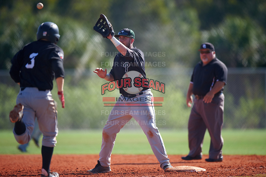 Plymouth State Panthers first baseman Jarek Krajewski (31) during the first game of a doubleheader against the Edgewood Eagles on March 17, 2016 at Lee County Player Development Complex in Fort Myers, Florida.  Plymouth State defeated Edgewood 6-5.  (Mike Janes/Four Seam Images)