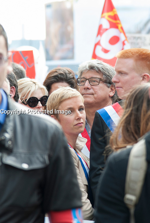 September 23 2017, Paris, France - Demonstration against the Reform of Labour Law led by the French politician Jean-Luc Melenchon Leader of 'La France Insoumise'. Clementine Autain a politician woman support of Melenchon was present. # MANIFESTATION CONTRE LA LOI TRAVAIL EN FRANCE