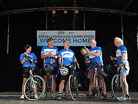 L-R The five cyclists Karen Munn, Mike Croft, Martin Snailham, Chris Wolsey, Chris Groves and Andy House