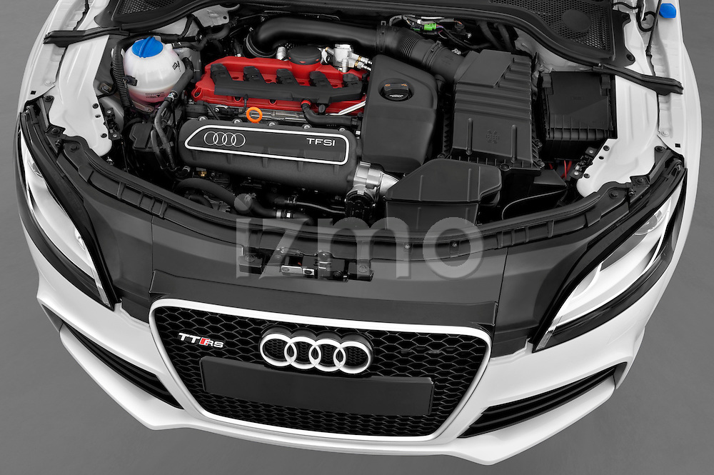 High angle engine detail of a 2010 - 2014 Audi TT RS Convertible.
