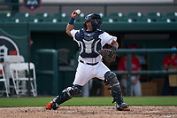 Detroit Tigers catcher Juan Centeno (79) throws down to second base during a Minor League Spring Training game against the Philadelphia Phillies on April 17, 2021 at Joker Marchant Stadium in Lakeland, Florida.  (Mike Janes/Four Seam Images)