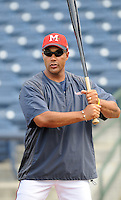 10 April 2008: Coach Franklin Stubbs of the Mississippi Braves, Class AA affiliate of the Atlanta Braves, in a game against the Mobile BayBears at Trustmark Park in Pearl, Miss. Photo by:  Tom Priddy/Four Seam Images