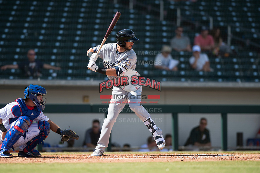 Peoria Javelinas third baseman Weston Wilson (18), of the Milwaukee Brewers organization, at bat in front of catcher P.J. Higgins (12) during an Arizona Fall League game against the Mesa Solar Sox at Sloan Park on October 11, 2018 in Mesa, Arizona. Mesa defeated Peoria 10-9. (Zachary Lucy/Four Seam Images)