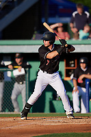 Batavia Muckdogs Keegan Fish (7) bats during a NY-Penn League game against the West Virginia Black Bears on June 27, 2019 at Dwyer Stadium in Batavia, New York.  West Virginia defeated Batavia 6-5 in ten innings.  (Mike Janes/Four Seam Images)