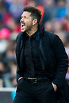 Coach Diego Simeone of Atletico de Madrid reacts during their La Liga match between Atletico de Madrid and FC Barcelona at the Santiago Bernabeu Stadium on 26 February 2017 in Madrid, Spain. Photo by Diego Gonzalez Souto / Power Sport Images