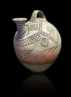 Cycladic askos with hatched painted decoration.  Cycladic III (2300-2000 BC) , Phylakopi, Melos. National Archaeological Museum Athens. Cat no 5826.  Black background.<br /> <br /> <br /> Decorated pottery is rare during this Ccladic period. This Cycladic askos has vertical handle on top with a spout. It has painted decoration of hatched bands and a lozenge pattern