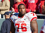 Houston Cougars offensive linesman Jacolby Ashworth (76) in action during the Ticket City Bowl game between the Penn State Nittany Lions and the University of Houston Cougars, played at the Cotton Bowl Stadium in Dallas, Texas. Houston defeats Penn State 30 to 14.