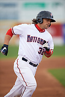 Potomac Nationals catcher Taylor Gushue (32) rounds the bases after hitting a home run during the first game of a doubleheader against the Salem Red Sox on May 13, 2017 at G. Richard Pfitzner Stadium in Woodbridge, Virginia.  Potomac defeated Salem 6-0.  (Mike Janes/Four Seam Images)