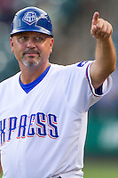 Round Rock Express coach Spike Owen (11) in the Pacific Coast League baseball game against the Iowa Cubs on July 21, 2013 at the Dell Diamond in Round Rock, Texas. Round Rock defeated Iowa 3-0. (Andrew Woolley/Four Seam Images)