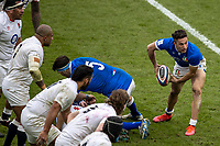 13th February 2021; Twickenham, London, England; International Rugby, Six Nations, England versus Italy; Jacopo Trulla of Italy passes the ball along his line