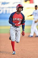 Hagerstown Suns center fielder Victor Robles (16) runs to third base during a game against the Asheville Tourists at McCormick Field on June 8, 2016 in Asheville, North Carolina. The Tourists defeated the Suns 10-8. (Tony Farlow/Four Seam Images)