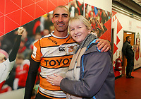 Saturday 22nd February 2020 | Ulster vs Cheetahs<br /> <br /> Ruan Pienaar and Sarah Sherry during the PRO14 Round 12 clash between Ulster and the Cheetahs at Kingspan Stadium, Ravenhill Park, Belfast, Northern Ireland. Photo by John Dickson / DICKSONDIGITAL