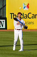 Wisconsin Timber Rattlers outfielder Garrett Mitchell (5) makes a throw in from the outfield during a game against the Beloit Snappers on May 4, 2021 at Neuroscience Group Field at Fox Cities Stadium in Grand Chute, Wisconsin.  (Brad Krause/Four Seam Images)