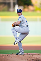 Columbus Clippers starting pitcher Shao-Ching Chiang (22) during an International League game against the Indianapolis Indians on April 29, 2019 at Victory Field in Indianapolis, Indiana. Indianapolis defeated Columbus 5-3. (Zachary Lucy/Four Seam Images)