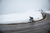Max Kanter (DEU/DSM) coming down the Passo Giau<br /> <br /> due to the bad weather conditions the stage was shortened (on the raceday) to 153km and the Passo Giau became this years Cima Coppi (highest point of the Giro).<br /> <br /> 104th Giro d'Italia 2021 (2.UWT)<br /> Stage 16 from Sacile to Cortina d'Ampezzo (shortened from 212km to 153km)<br /> <br /> ©kramon